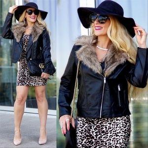 JULIA Vegan Blak Leather Jacket Coat Fur Collar